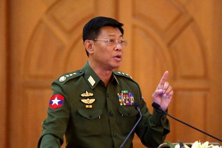 Lieutenant General Mya Tun Oo talks to media after a press conference on the situation in northern Rakhine State and Northeast monekoe conflict at the Chief of Defence office (Army) in Naypyitaw, Myanmar, Feb 28, 2017.