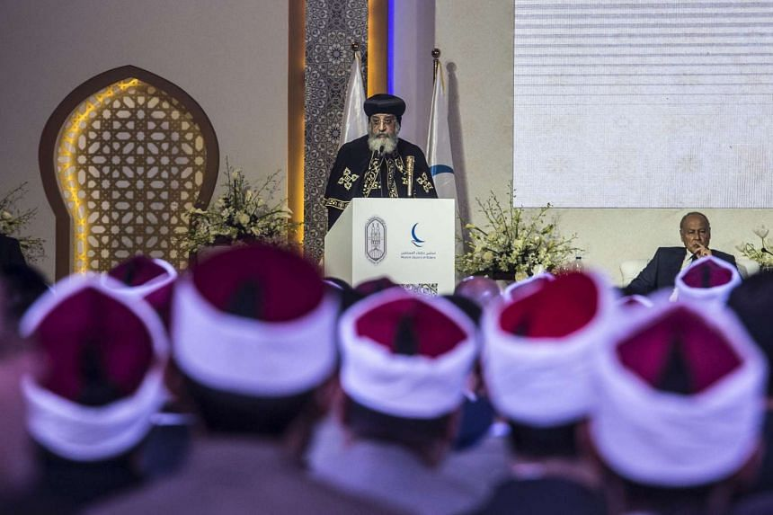 Leader of Egypt's Coptic Church, Pope Tawadros II of Alexandria delivers a speech during a conference titled ''Freedom and citizenship'' hosted by Al-Azhar, one of the leading Sunni Muslim authorities based in Cairo, on Feb 28, 2017.