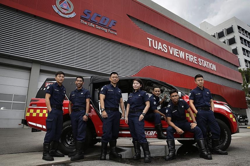 Above, from left: Among the SCDF firefighters who responded to the raging blaze at Eco Waste Special Management's premises in Tuas View Circuit last Thursday were Cpl Tan Zhi Wei, Sgt Muhammad Farhan Kutubundeen, Maj Huang Weikang, Capt Shawn Tan; St