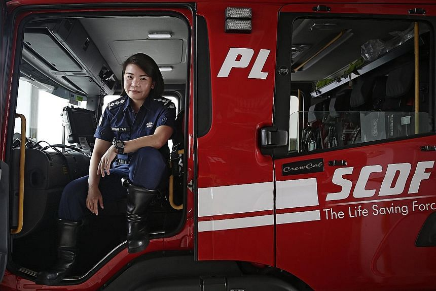 Captain Shawn Tan, the only female officer at Tuas View Fire Station, was the rotation commander on duty when the fire at Eco Special Waste Management broke out. She was less than two hours from ending her 24-hour shift, but left the station with her