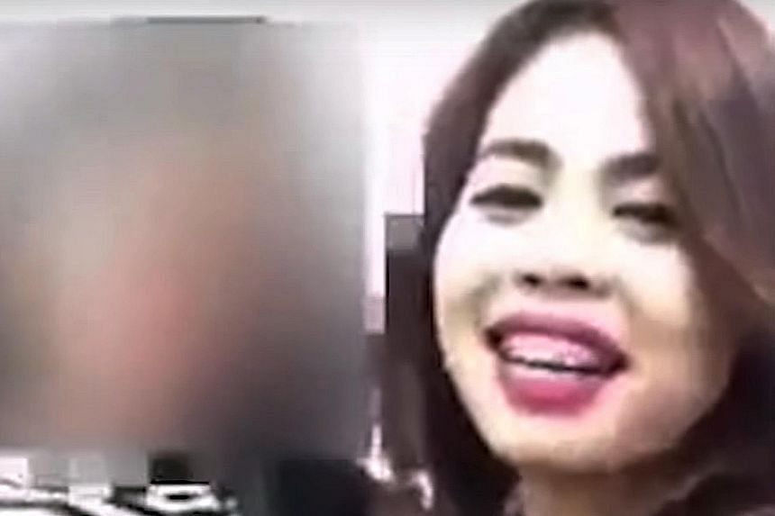 This screengrab from a video posted on YouTube shows Siti Aisyah having a night out with her friends at a nightclub in Kuala Lumpur on Feb 12 to celebrate her birthday and her pending success as an Internet celebrity.