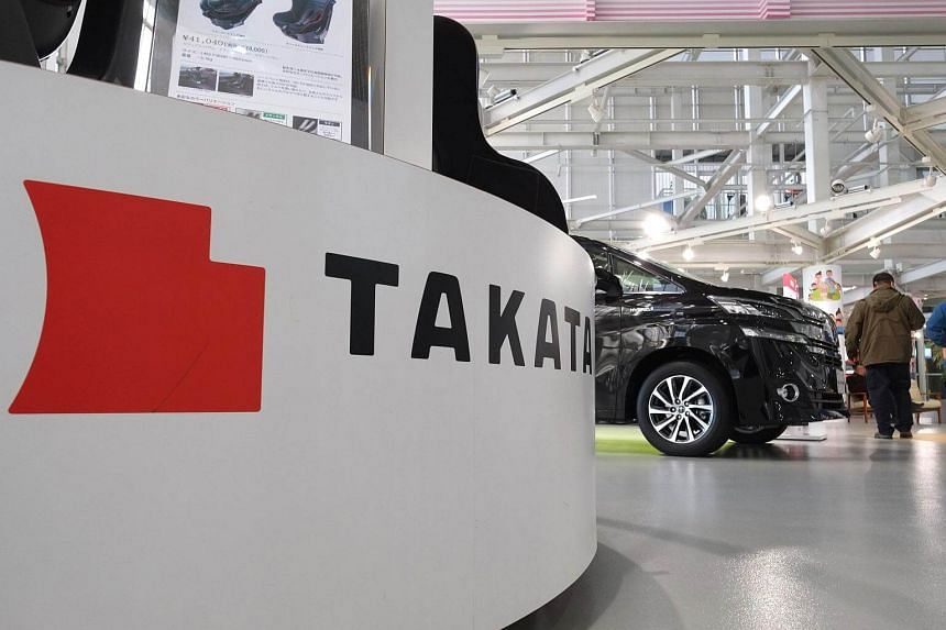 The logo of Japanese auto parts maker Takata displayed at a car showroom in Tokyo.