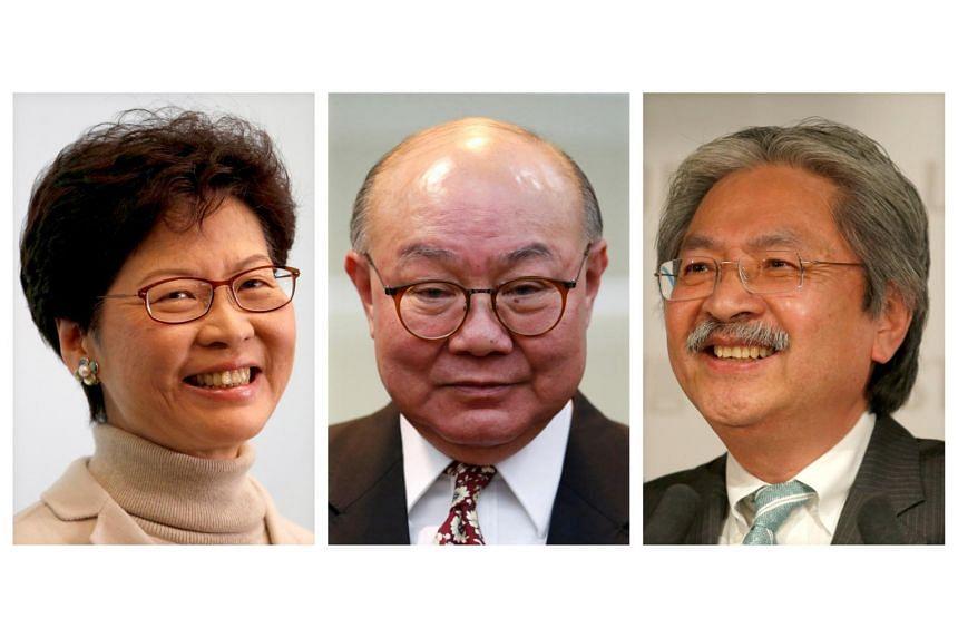 Hong Kong chief executive candidates (from left) Carrie Lam, Woo Kwok Hing and John Tsang.