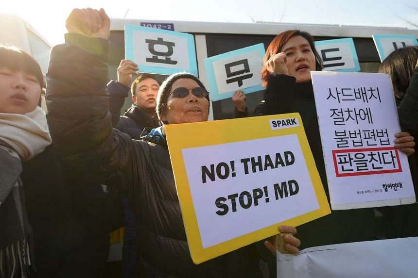 South Korean protesters staging a rally against the planned deployment of the THAAD anti-ballistic missile system, in Seoul on Feb 28, 2017.