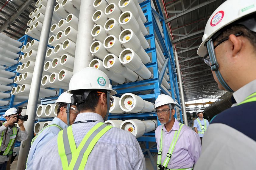 Minister for the Environment and Water Resources Masagos Zulkifli visiting the Tuas Desalination Plant 3 on Feb 7, 2017.