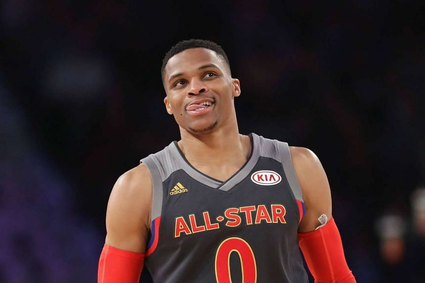 Russell Westbrook #0 of the Oklahoma City Thunder reacts during the 2017 NBA All-Star Game.