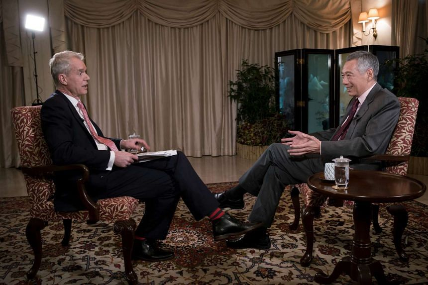 BBC HARDTalk presenter Stephen Sackur and PM Lee Hsien Loong.