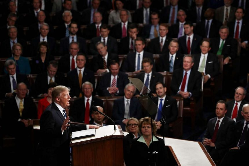 US President Donald Trump's first address to Congress in the House chamber of the US Capitol in Washington, DC, on February 28, 2017.