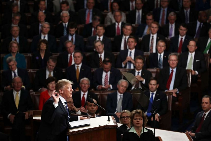 US President Donald Trump addressing a joint session of the US Congress, on Feb 28, 2017.
