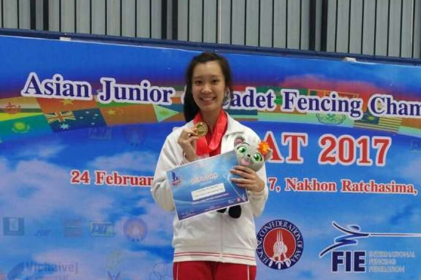 Esther Lai won Singapore's first-ever junior gold medal, in the women's junior epee, at the Asian Junior and Cadet Fencing Championships on March 1, 2017.