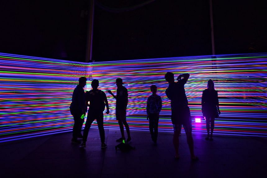 Horizontal Interference, an installation formed with colourful cords and designed by Katarzyna Malejka and Joachim Slugocki of Poland pictured at the Mist Walk on March 1, 2017.
