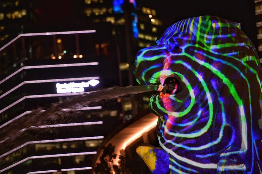 The Body of the Sea , a projection on the Merlion, by French multidisciplinary art and design team Danny Rose Collective pictured on March 1, 2017.