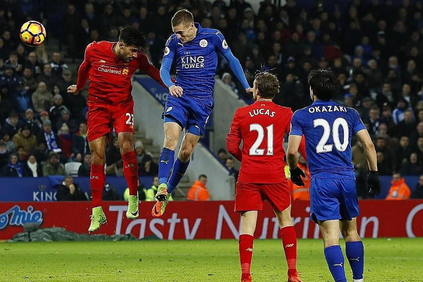 Leicester striker Jamie Vardy scoring their third goal in the 60th minute with a glancing header. Leicester stunned Liverpool 3-1 with a brace from Vardy and the Foxes will seek to pull further away from the relegation zone with a home game against 1