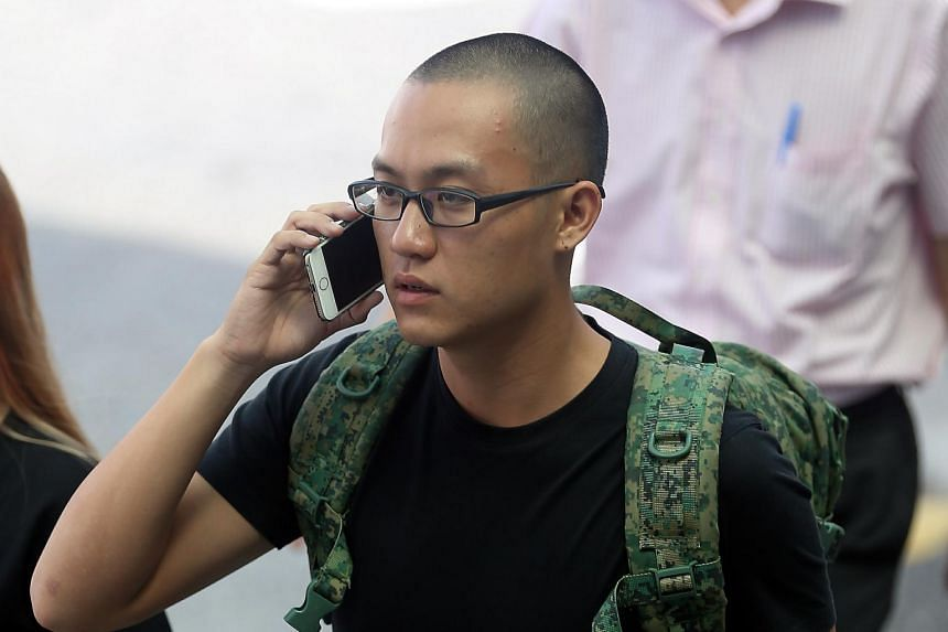Bryon Loke Thong Ler, who attacked blogger Amos Yee at a Jurong West mall in May last year, seen outside the State Courts on Aug 18, 2016.