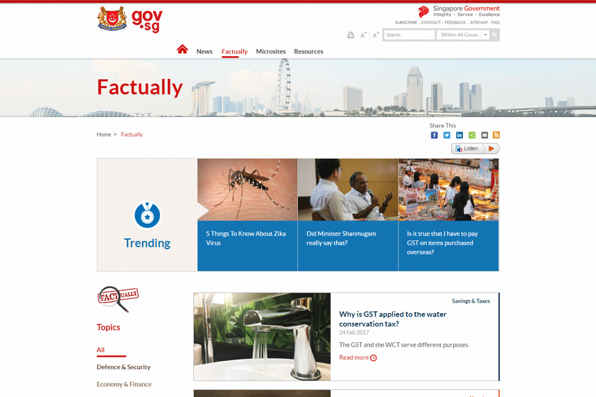 The Factually webpage will clarify falsehoods that have attracted enough public interest, said Communications and Information Minister Yaacob Ibrahim in Parliament on March 1, 2017.