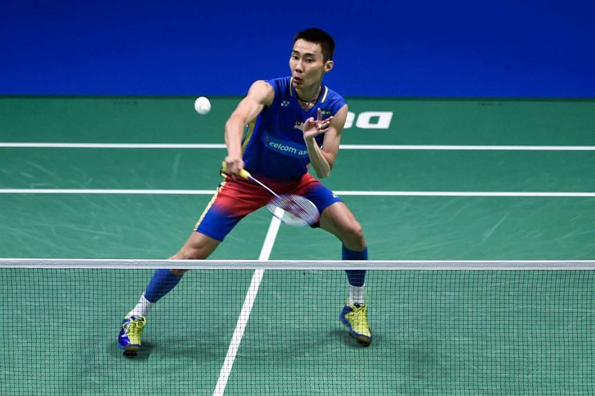 Lee Chong Wei of Malaysia playing a shot against Viktor Axelsen of Denmark (not pictured) during their men's singles badminton match on the Dubai World Super series Finals badminton tournament, on Dec 15, 2016.