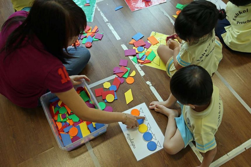 A teacher with the pre-school students during an activity class at Eshkol Valley Preschool.