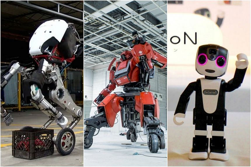 From left: Boston Dynamics' hybrid creation Handle, Suidobashi Heavy Industry's rideable mech Kuratas and Sharp's part-robot, part-smartphone RoBoHon.