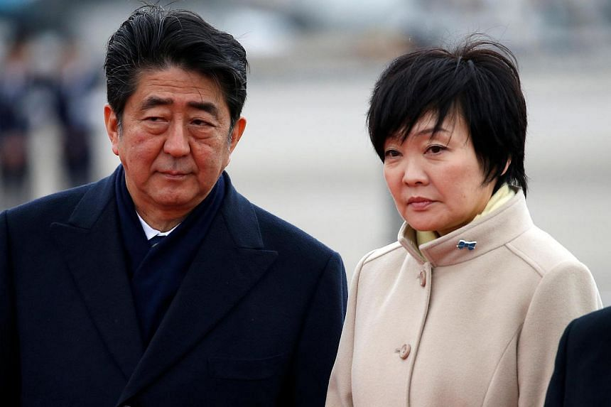 Japan's Prime Minister Shinzo Abe (left) and his wife Akie.
