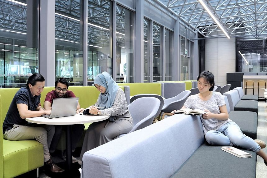 Politics, Law and Economics (PLE) major students in one of SMU's new study spaces.