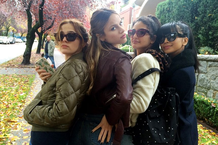 "The ""mean girls"" squad (from left) Zoey Deutch, Halston Sage, Medalion Rahimi and Cynthy Wu."