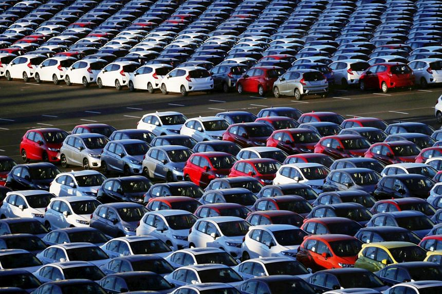 Newly manufactured Honda cars awaiting export in Yokohama port in January. While Japan's exports have started to recover from late last year, the jury is still out on whether the uptick is sustainable in the wake of rising protectionism in the US.