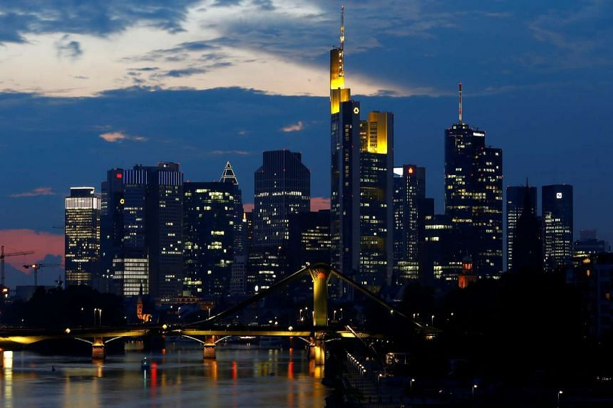 File photo of the skyline of the banking district in Frankfurt, Germany.