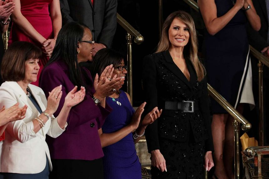 First lady Melania Trump arriving at a joint session of the US Congress on Tuesday (Feb 28) in the House chamber of the US Capitol in Washington, DC.