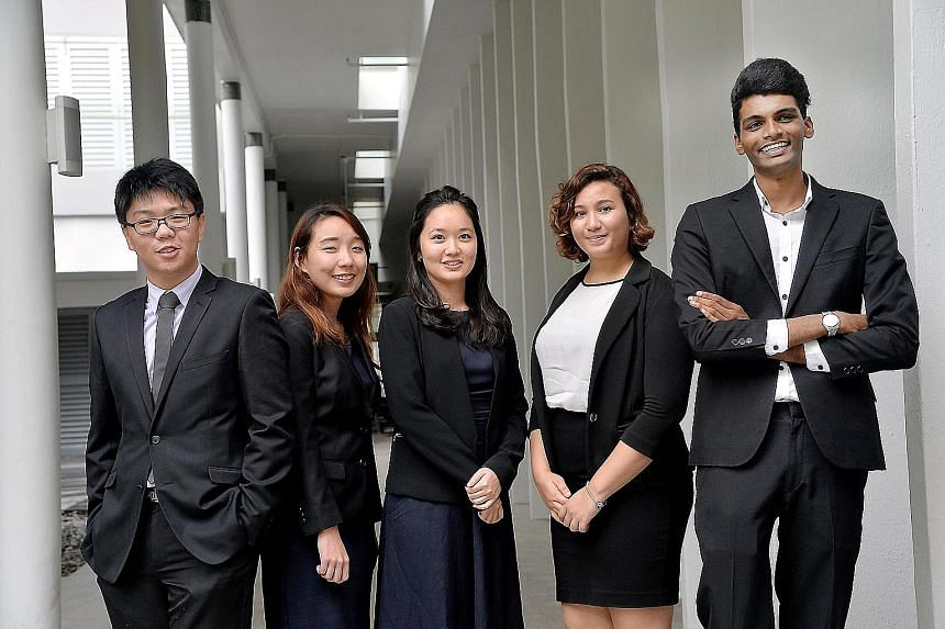 Winners at the NUS Law Pro Bono Awards ceremony yesterday include (from far left) Mr Allen Sng, Ms Lim Boon Xin, Ms Hwang Soon Ae, Ms Sheiffa Safi Shirbeeni and Mr Prabu Devaraj.