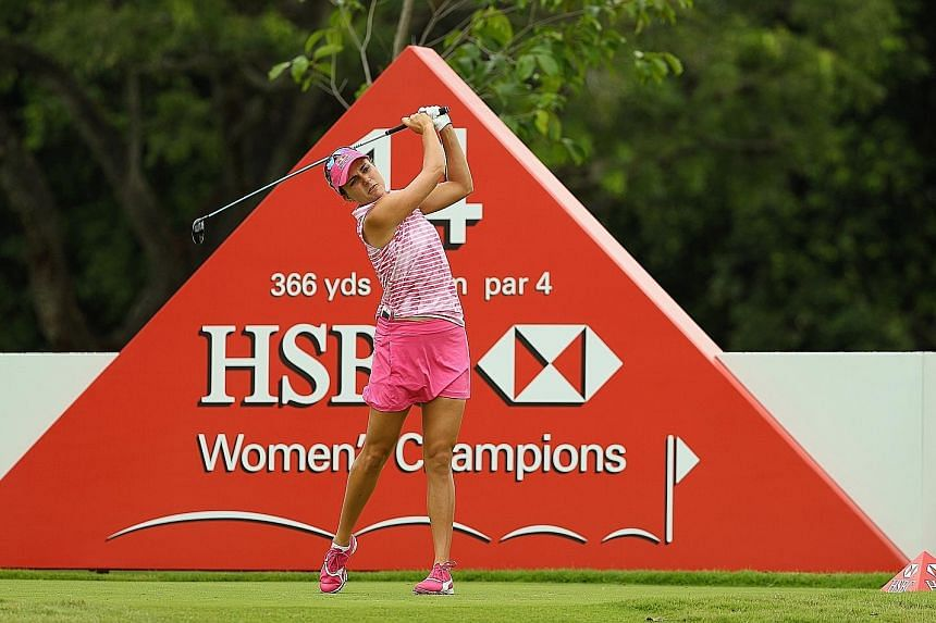 "Lexi Thompson hitting a tee shot at yesterday's pro-am curtain-raiser for the HSBC Women's Champions at Sentosa Golf Club. The American says that despite seeking excellence, golfers are ""not perfect, we're human""."