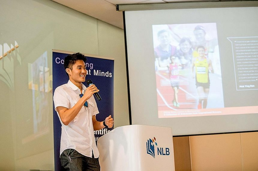 Mok Ying Ren (left) and Ashley Liew speaking at yesterday's launch of the book which, apart from offering running tips, also aims to show readers how lessons learnt on the track can be applied to real life.