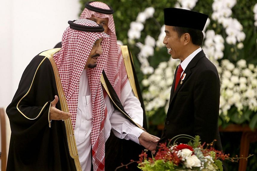President Joko and King Salman at the presidential palace in Bogor yesterday. This is the first visit by a Saudi king to Indonesia in 47 years, and follows Mr Joko's visit to Riyadh in 2015.