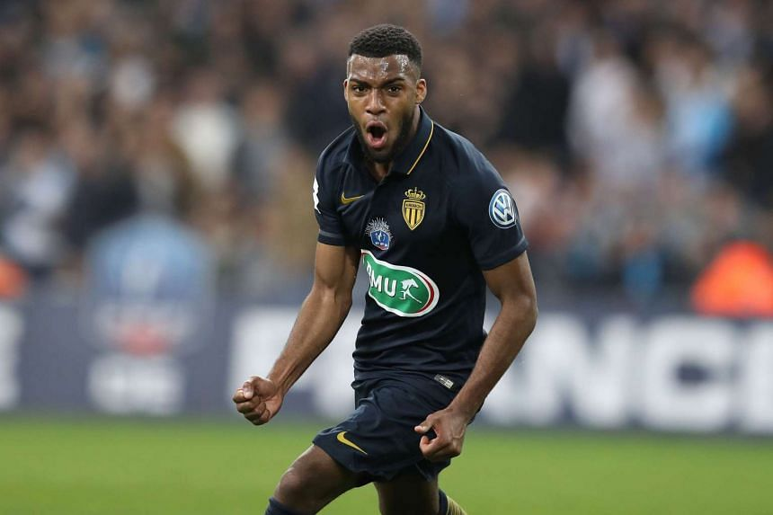 Monaco midfielder Thomas Lemar celebrating after scoring against Marseille to help his team into the quarter-finals of the French Cup, on March 1, 2017.