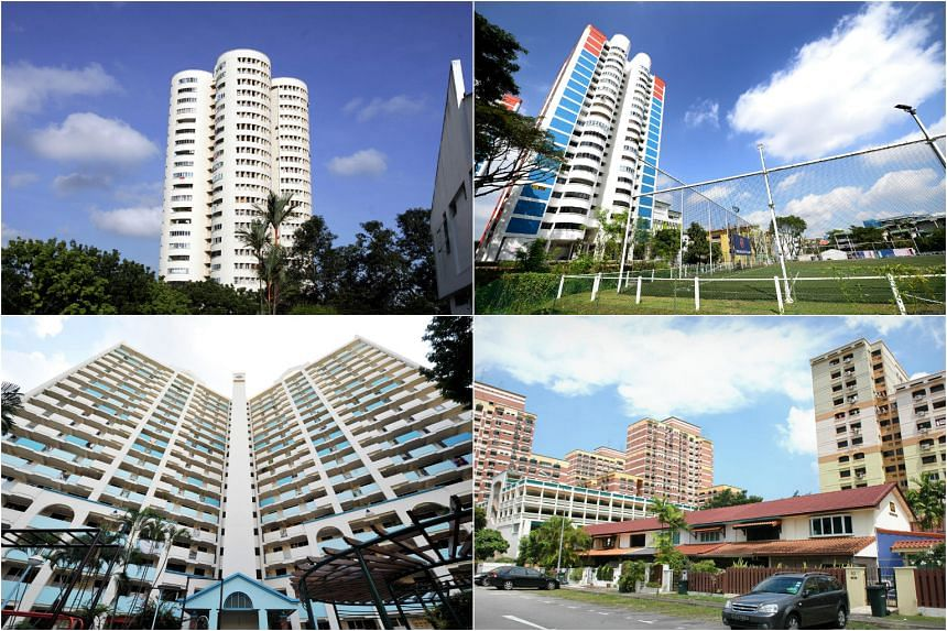 HDB flats with unusual shapes found in (clockwise from top left) Ang Mo Kio, Aljunied, Whampoa and Toa Payoh.