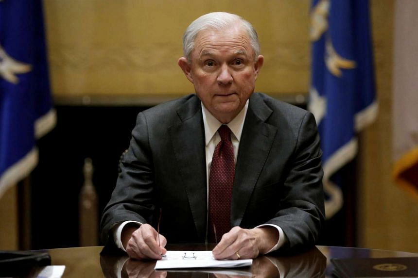 US Attorney General Jeff Sessions holds his first meeting with heads of federal law enforcement components at the Justice Department. in Washington US on Feb 9, 2017.