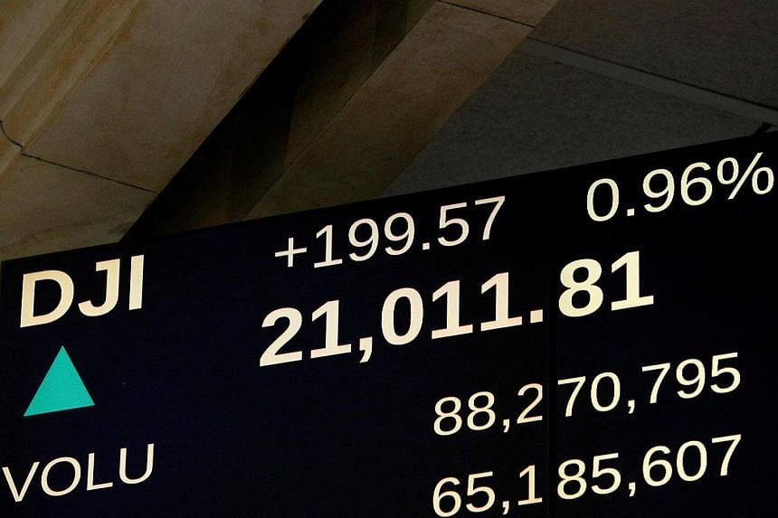 A screen shows the Dow Jones Industrial Average soon after the market opened on the floor of the New York Stock Exchange in New York, US, on Mar 1, 2017.