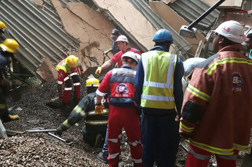 A photo of the scene uploaded to social media after the roof collapsed at a South African hospital.