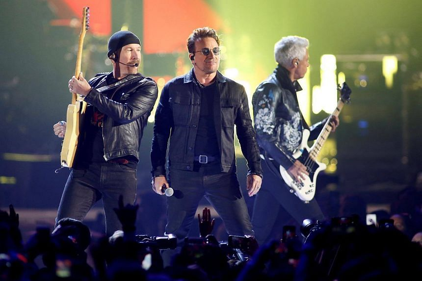 (From left) Guitarist The Edge, Bono and bass guitarist Adam Clayton of U2. The band has been sued by British songwriter-guitarist Paul Rose.