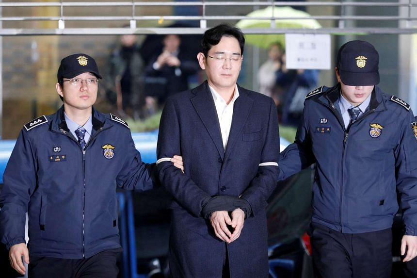 Samsung chief Lee Jae Yong arrives at the office of the independent counsel team in Seoul, South Korea on Feb 22, 2017.