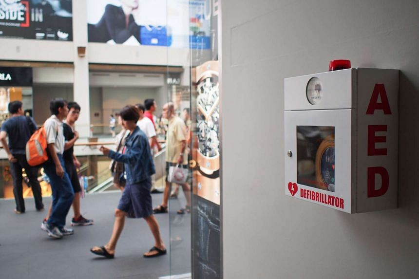 An Automated External Defibrillator (AED) located at the Shoppes in Marina Bay Sands.
