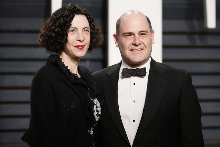Director and producer Matthew Weiner (right) and his wife Linda Brettler at the Oscars Vanity Fair Party, on Feb 26, 2017.