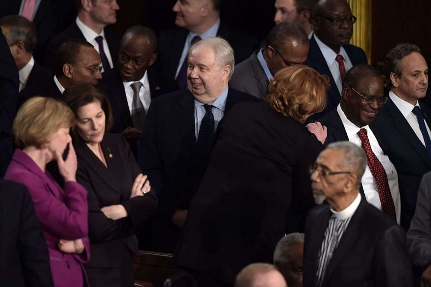 Russian Ambassador to the US Sergey Kislyak (center) arrives before US President Donald Trump addresses a joint session of the US Congress on Feb 28, 2017.
