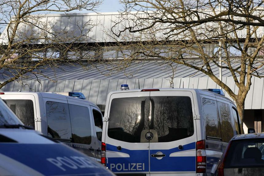 Police cars in front of the festival hall in Gaggenau, near Karlsruhe, Germany, on March 2, 2017. City administration and the police of Gaggenau have cancelled a convention organised by Union of European Turkish Democrats due to security reasons.