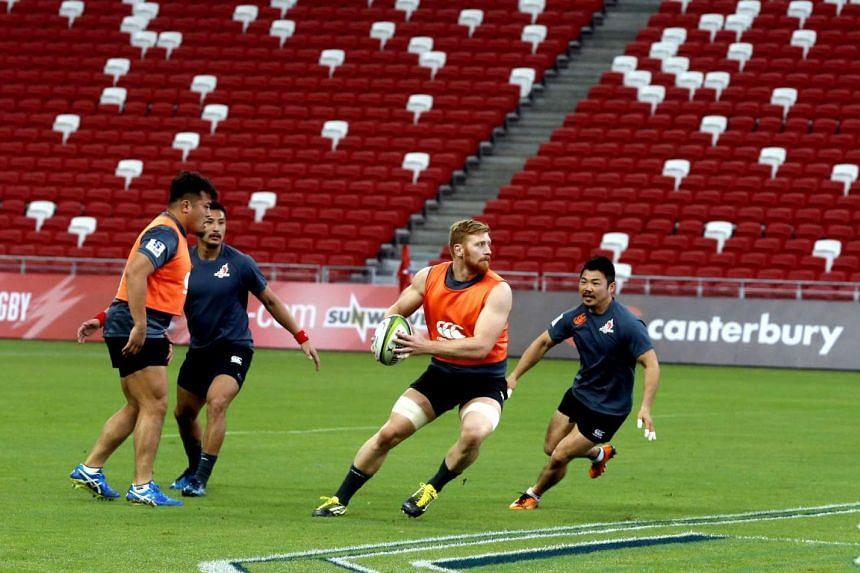 Captain Ed Quirk of Sunwolves at the team's training ahead of their first Super Rugby match in Singapore against the Kings on Saturday (March 4).