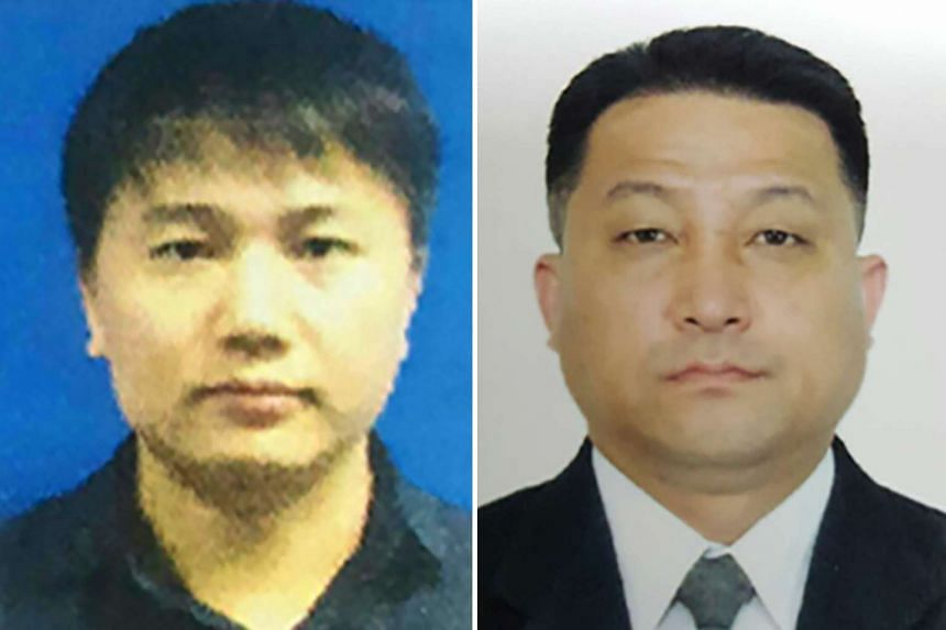North Korean airline employee Kim Uk Il (left) and Hyon Kwang Song, second secretary at the North Korean embassy in Kuala Lumpur.