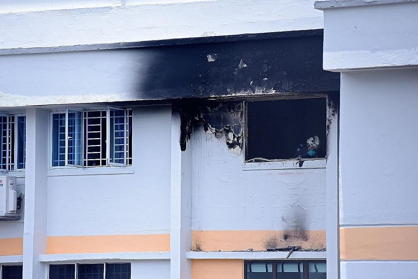 The fire, which is believed to have originated from the room of one of Mr Lim's sons, gutted the room and damaged the rest of the flat in Serangoon Avenue 4.