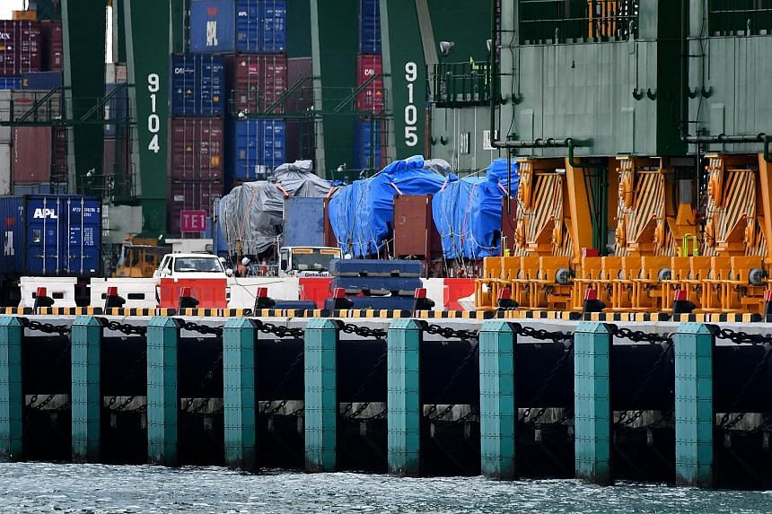 The SAF Terrex infantry carriers at Pasir Panjang container terminal in January after returning from Hong Kong.