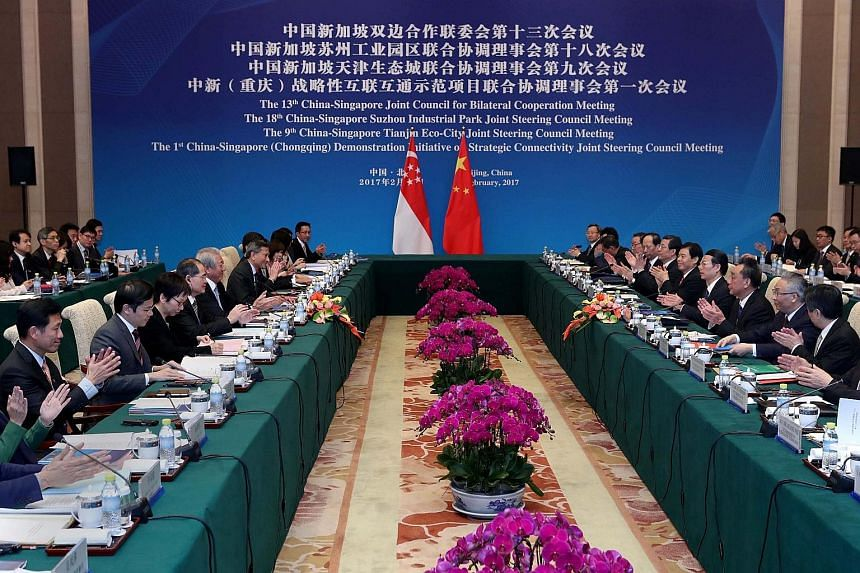 Members of the Singapore and Chinese delegations at the 13th Joint Council for Bilateral Cooperation meetings in Beijing, China, on Monday. Singapore's suggestions on the Belt and Road initiative were welcomed by the Chinese.