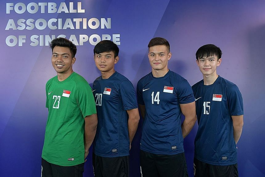 From left: Hariz Farid, Joseph Goh, Armin Maier and Damian Chua are in the national Under-20 football team. Among their targets are success in the SEA Games in 2019 and 2021.