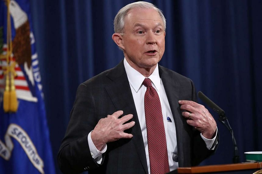 US Attorney General Jeff Sessions answering questions during a press conference at the Department of Justice on March 2, 2017 in Washington, DC.
